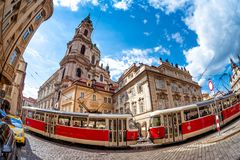 Stunning Baroque Saint Nicholas Church at the Mala Strana distri Stock Images