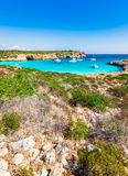 Stunning bay with boats at Cala Varques Majorca Spain Royalty Free Stock Images