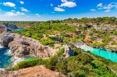 Stunning beach bay of Cala Moro Majorca Spain Mediterranean Sea Stock Images