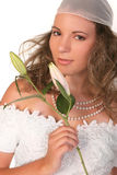 Stunning Beautiful Bride Holding Lilly Royalty Free Stock Photography
