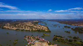 Don Det , Don Khon village and Mekong River top view landscape, Laos royalty free stock photo