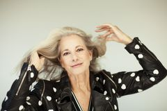 Stunning beautiful and self confident best aged woman with perfect grey hair, hairstyle Royalty Free Stock Images