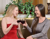 Stunning biracial woman and friend toast with wine Royalty Free Stock Photography