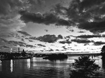 Stunning Black and White Shot of a Sunset over Cleveland. Lake Erie is a great place in NE Ohio to enjoy a brilliant summer night stock photography