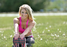 Stunning blonde woman - fitness model Stock Photography