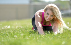 Stunning blonde woman - fitness model Royalty Free Stock Photography