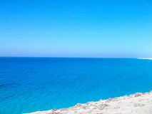 A stunning blue beach of Marsa Matrouh, Egypt. Picture of Marsa Matrouh beach which is known of its natural beauty stock photos