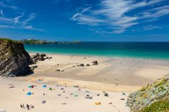 Lusty Glaze Beach Newquay Cornwall England Stock Photo