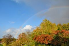 Rainbow during storm Brian in UK Royalty Free Stock Photos