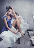 Stunning brunette beauty posing. Beautiful legs Stock Photos
