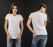 Stunning brunette with blank white shirt. Photo of a beautiful brunette woman with blank white shirt. Ready for your design or artwork Royalty Free Stock Photos