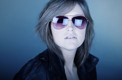 Stunning Brunette Teenager in Aviator Sunglasses Royalty Free Stock Photography
