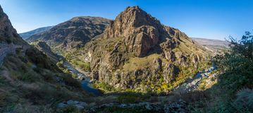 A stunning canyon in Georgia, not far from the Fortress of Khertvisi. stock photos