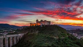 Stunning castle in Spoleto at sunset, Italy, Umbria. Europe stock images