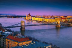 Stunning Chain bridge and Parliament building at sunset, Budapest, Hungary stock photos