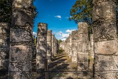Stunning chichen itza mexico ancient civilization. Ancient mayan pyramid in yucatan mexico called chichen itza in december 2017. Blue sky and green grass. One of Royalty Free Stock Photography