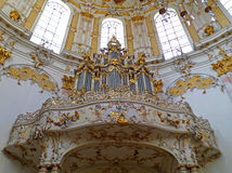 Stunning Church Organ and Beautiful Interior of Ettal Abbey Church Stock Images