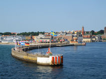 Stunning Cityscape of Helsingborg, Sweden as seen from the ferry on Oresund strait. Stunning Cityscape of Helsingborg, Sweden as seen from the ferry on The Sound stock images