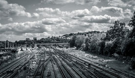 Stunning Clouds Over Train Tracks Stock Photos