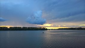 Stunning clouds in the skies of Uglich at sunset royalty free stock images