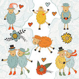Stunning collection of hand drawn sheeps Royalty Free Stock Image