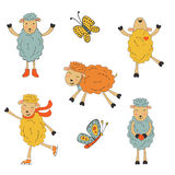 Stunning collection of hand drawn sheeps Royalty Free Stock Photo