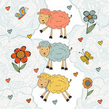 Stunning collection of hand drawn sheeps Royalty Free Stock Photography