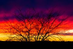 Stunning colorful beautiful sunset. Stunning colorful and beautiful sunset in Plattsmouth, Nebraska royalty free stock images