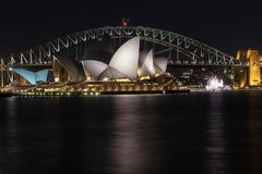 Sydney, NSW/Australia: Harbour Bridge and the Opera House at night stock image