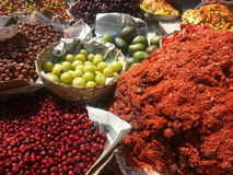 Stunning colour vegetables and spices. The colours of the food at mumbai market stunning Royalty Free Stock Images