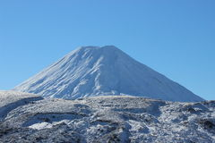 Stunning cone of Ruapehu volcano in winter. Stunning Ruapehu volcano whole under snow in winter time during beautiful sunny day in Tongariro National Park Royalty Free Stock Photography