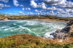 Stunning Cornish cove Treyarnon Bay Cornwall England UK north coast between Newquay and Padstow in colourful HDR Stock Image