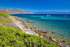 Stunning Corsica coastline with rocky beach and tourquise clear near Ajaccio Royalty Free Stock Image