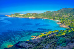 Stunning Corsica coastline with sandy beach and tourquise water, Stock Image