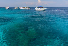 Sea and boat. Its very spectacular scene from seeing clear water and we can see coral from boat Stock Image