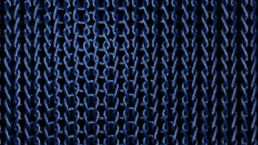 Woven Blue Material Strands. A stunning 3d rendering of interlinked material strands made of knots connected with each other. They look like a coarse ring-mail Stock Photos