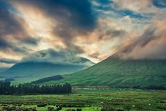Stunning dawn over the mountains of Glencoe, Scotland. Europe stock photo