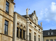 Stunning decorated facade against cloudy blue sky, Luxembourg city Royalty Free Stock Photography
