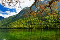 Stunning deep green waters of Konigssee, known as Germany`s deepest and cleanest lake, located in the extreme southeast Berchtesg Royalty Free Stock Image