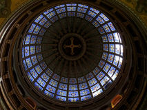 Stunning dome decorated with bright colored stained glass, Basilica of St. Nicholas in Amsterdam Stock Photos