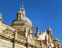Stunning Domes and Towers of Cathedral-Basilica of Our Lady of the Pillar, Zaragoza in Spain Stock Photos