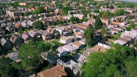 Stunning drone panorama aerial tilt shift view on tiny houses villas in suburb town village neighborhood. Fascinating drone panorama aerial tilt shift view on stock video