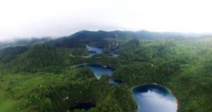 Stunning drone view of cinco lagos lagoons. Chiapas, Mexico (DRONE VIEW). Stunning panoramic view of Cinco Lagos lagoons in the national park Montebello Lagoons stock video