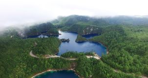 Stunning drone view of cinco lagos lagoons. stock video footage