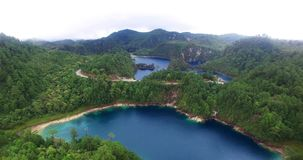 Stunning drone view of cinco lagos lagoons.TAKE 2. Chiapas, Mexico (DRONE VIEW). Stunning panoramic view of Cinco Lagos lagoons in the national park Montebello stock video