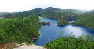 Stunning drone view of Cinco Lagos lagoons.TAKE 1 stock video