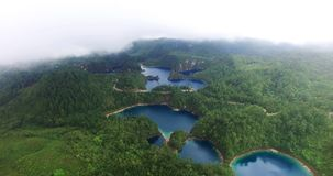 Stunning drone view of cinco lagos lagoons.TAKE 6. Chiapas, Mexico (DRONE VIEW). Stunning panoramic view of Cinco Lagos lagoons in the national park Montebello stock video
