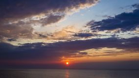 Stunning dusk over Baltic sea with floating boats, Poland stock video