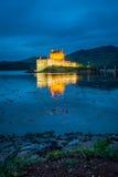 Stunning Eilean Donan Castle after sunset, Scotland stock photo