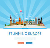 Stunning europe poster with famous attractions. Stunning europe poster with Eiffel Tower, Leaning Tower, Big Ben, Kremlin and others famous architectural Royalty Free Stock Image